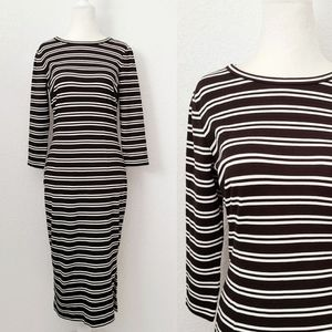 Ann Taylor Black/White Striped Midi Stretch Dress